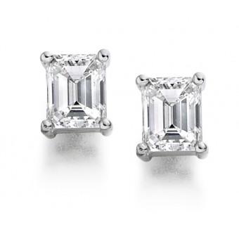 Platinum Alessandra emerald cut diamond earrings 0.81cts