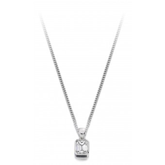 18ct white gold Esta emerald cut diamond pendant 0.19cts