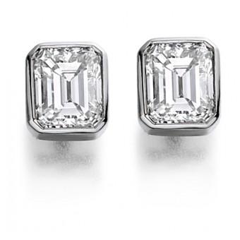 Platinum Esta emerald cut diamond earrings 0.83cts