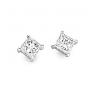 Platinum Alessandra princess cut diamond earrings 0.66cts