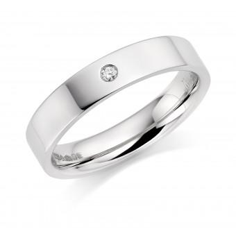 Platinum 4mm Lucia diamond wedding ring 0.04cts