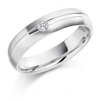 Platinum 4.5mm Terza diamond wedding ring 0.04cts