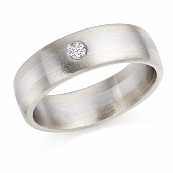 Platinum & 18ct white gold 6mm Alonza diamond wedding ring 0.06cts