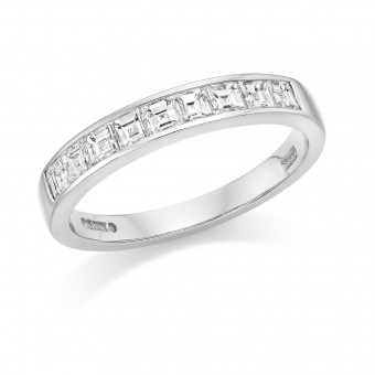 Platinum Alexandra carré cut diamond half eternity ring 0.61cts