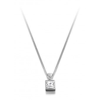 18ct white gold Esta princess cut diamond pendant 0.18cts