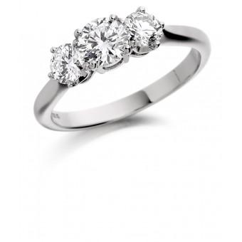 Platinum Adrina round cut diamond three stone ring 0.84cts