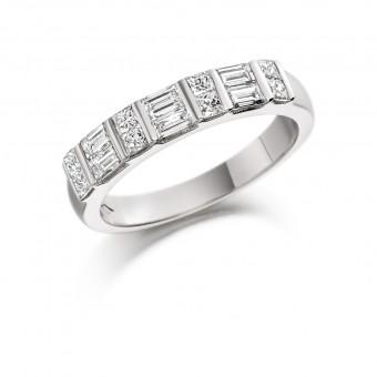 Platinum Gavriella baguette and princess cut half eternity ring 0.65cts