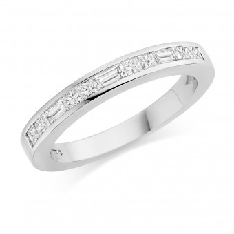 Platinum Alexandra princess and baguette cut diamond half eternity ring 0.49cts