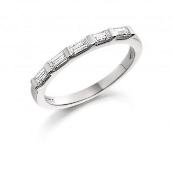 Platinum Aria baguette cut diamond five stone eternity ring 0.36cts