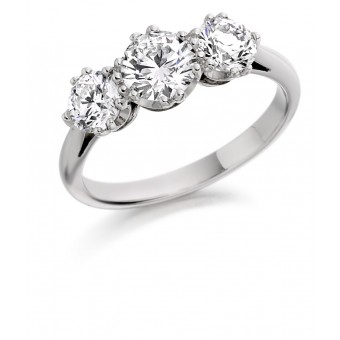 Platinum Contessa round cut three stone ring 0.61cts