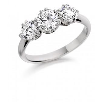 Platinum Contessa round cut three stone ring 0.92cts