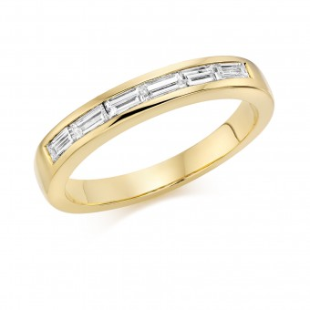 18ct yellow gold Alexandra baguette cut diamond half eternity ring 0.38cts