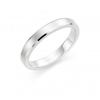 Platinum brushed finish 3mm New Windsor  wedding ring