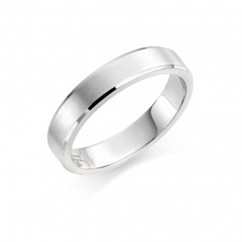 Platinum brushed finish 4mm New Windsor  wedding ring