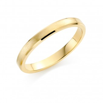 18ct yellow gold brushed finish 3mm New Windsor wedding ring