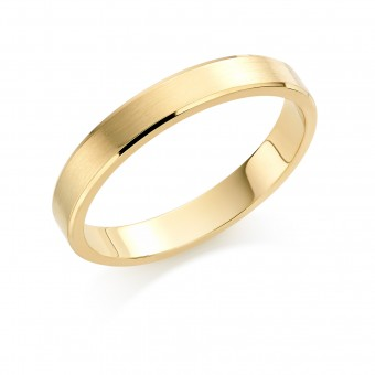 18ct yellow gold brushed finish 4mm New Windsor wedding ring
