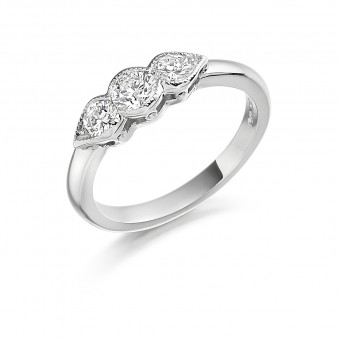 Platinum Donatella three stone diamond ring 0.53cts
