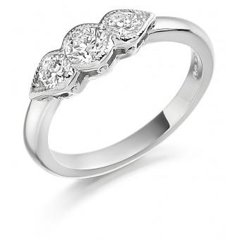 Platinum Donatella three stone diamond ring 0.72cts