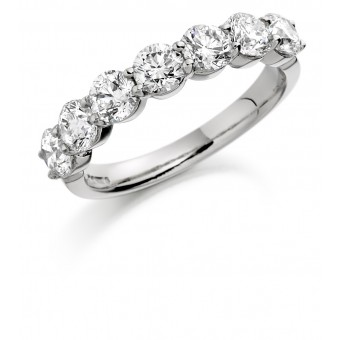 Platinum Claudina round cut diamond half eternity ring 1.26cts