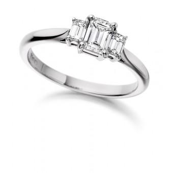 Platinum Ottavia emerald cut diamond three stone ring 0.56cts