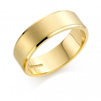 18ct yellow gold brushed finish 7mm New Windsor wedding ring
