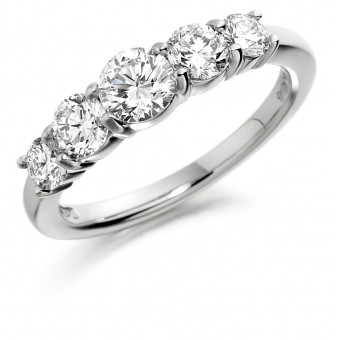 Platinum Alcee round cut diamond five stone ring 0.50cts