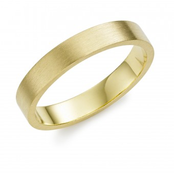 18ct yellow gold brushed finish 4mm Windsor wedding ring.