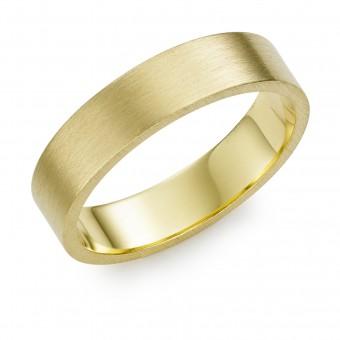 18ct yellow gold brushed finish 5mm Windsor wedding ring.