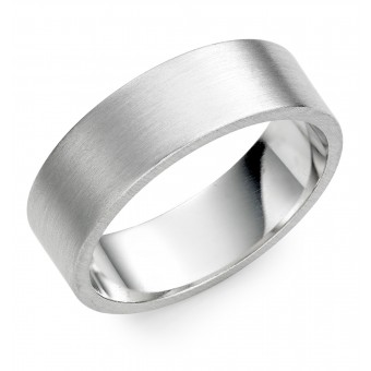 Platinum  brushed finish 7mm Windsor wedding ring.