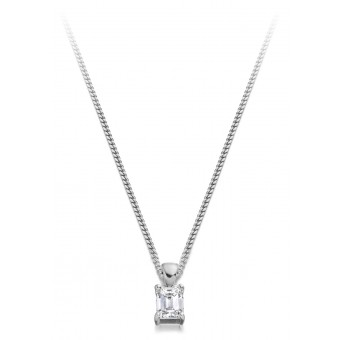 18ct white gold Alessandra emerald cut pendant 0.16cts