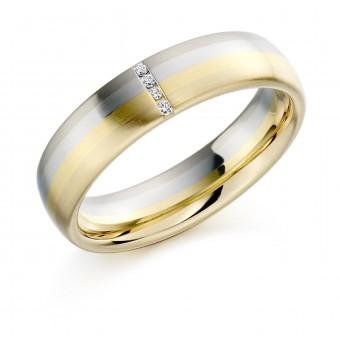 18ct gold & platinum 5mm Lorenza diamond wedding ring 0.02cts
