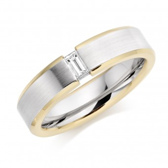 Platinum & 18ct red gold 5mm Donata diamond wedding ring 0.12cts
