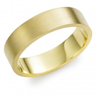 18ct yellow gold brushed finish 6mm Windsor wedding ring.