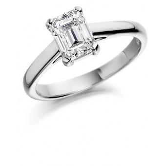 Platinum Lunetta emerald cut diamond solitaire ring
