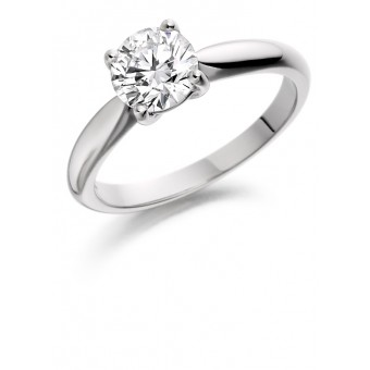 Platinum four claw Alessia round cut diamond solitaire ring 0.90cts