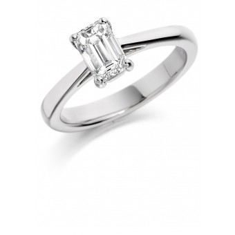Platinum Massima emerald cut solitaire ring 0.90cts