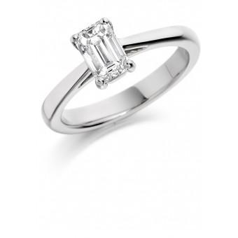 Platinum Massima emerald cut solitaire ring 0.74cts