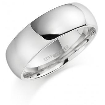 Platinum 7mm Oxford wedding ring