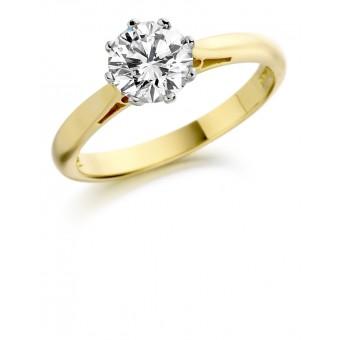 18ct yellow gold Serafina round cut diamond solitaire ring 0.30cts