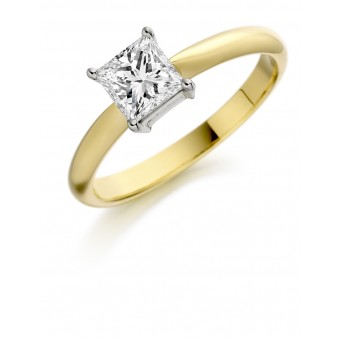 18ct yellow gold Elda princess cut diamond solitaire ring 0.71cts