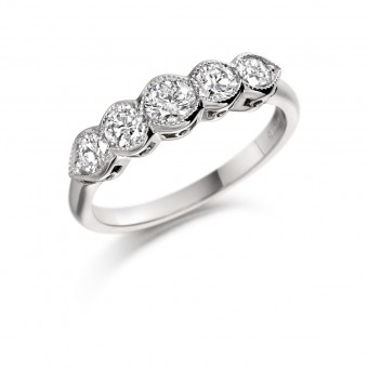 Platinum Donatella round cut diamond five stone ring 0.54cts