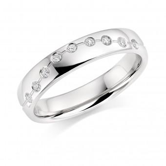 Platinum 4mm Cannelita diamond wedding ring 0.09cts