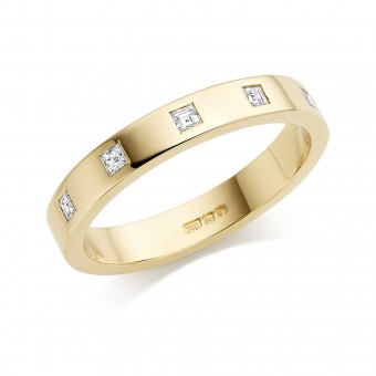 18ct yellow gold 3mm Windsor diamond wedding ring 0.11cts