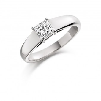 Platinum Calandra princess cut diamond solitaire ring 0.50cts