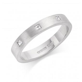 Platinum 3mm Windsor diamond wedding ring 0.08cts