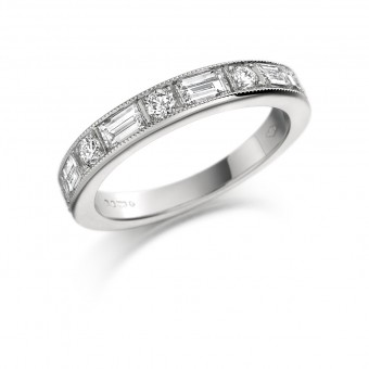 Platinum Balbina baguette and round cut half eternity ring 0.87cts