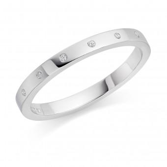 Platinum 2mm Windsor diamond wedding ring 0.04cts