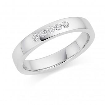 Platinum 3.5mm Luisa diamond wedding ring 0.10cts