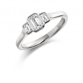 Platinum Giuditta emerald cut diamond three stone ring 0.68cts