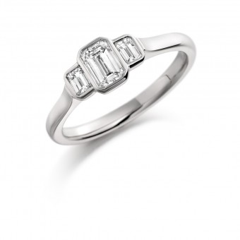 Platinum Giuditta emerald cut diamond three stone ring 0.56cts